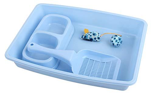 PAWISE Ensemble de 4 accessoires pour chats, comprenant un bac à litière, une pelle à litière, un gamelle et un jouet, 36,8 x 26,7 cm, bleu