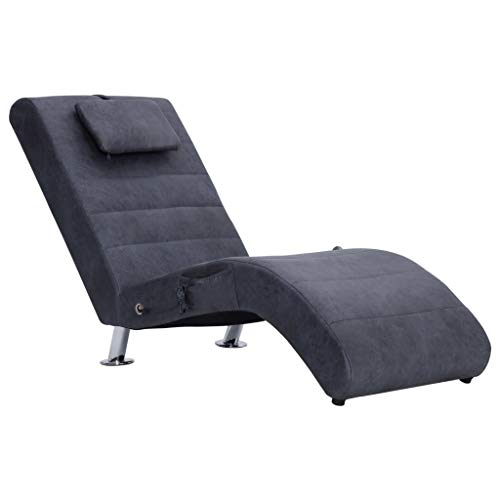 yorten Massage Relaxliege mit Kissen Wohnzimmer Liegesessel mit 5 Massagemodi und Heizfunktion Sofaliege Wildleder-Optik 144 x 59 x 79 cm (B x T x H) Grau