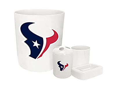 The Furniture Cove New Plastic 4 Piece Bathroom Accessory Set in White Featuring the Choice of Your Favorite Football Team Logo (Texans)