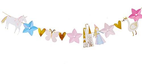 KOUQI Habitación para Niños, Suministros De Decoración Y Mobiliario para Fiestas De Bebés, Banderas Guirnalda de Unicornio (Nuevo)