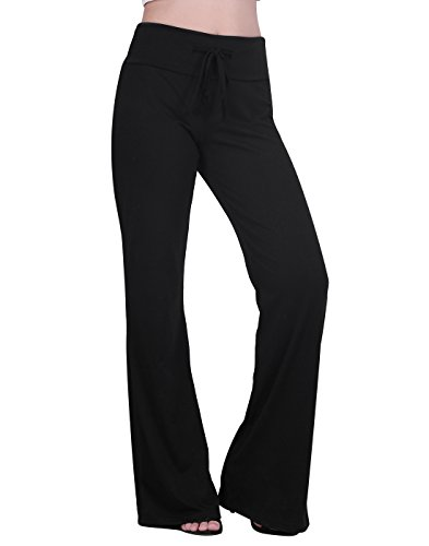 HDE Womens Cotton Pajama Pants Wide Leg Sleepwear Casual Loose Lounge PJ Bottoms,Black,Large