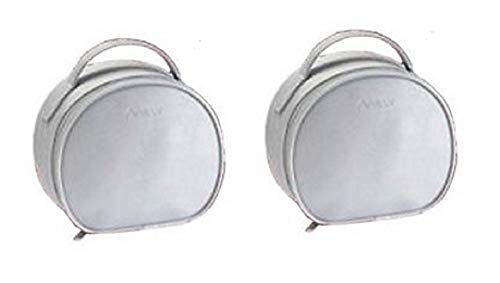 Pack of 2 Avon Anew Zip Around Round Silver Cosmetics Vanity Case – 19cm x 17cm x 7.5cm