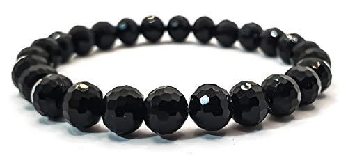 Pulsera elástica para hombre y mujer, con piedras preciosas naturales de 8 mm, para reiki, idea de regalo de cumpleaños, original difusor de energía para curar el equilibrio Ossidiana Nera