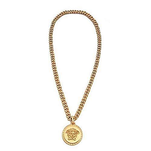 CHENGL Herren-Kette Männer Medusa 18K Gold Runde Anhänger Legierung Halskette Männer und Frauen Schmuck Zubehör Geschenkbox/4 * 4cm/Kettenlänge 70cm