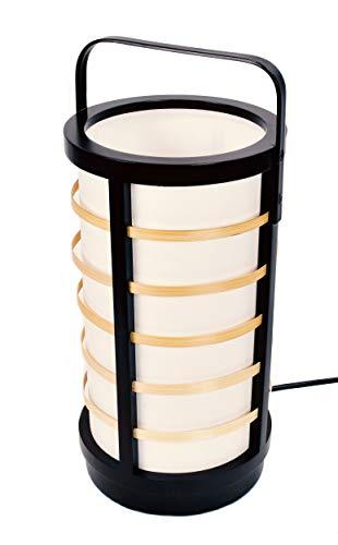 Japanische Asiatische Takeya Boden/Stehlampe Tischlampe aus Holz und Reispapier E27 mit Schalter rund