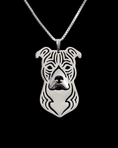 VAWAA American Staffordshire Terrier Collar de Moda Pitbull Collar Mascota de Perro joyería para Mujer