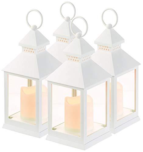 Lunartec Windlicht: 4er Pack Laterne mit flackernder LED-Kerze und Timer, Batteriebetrieb (LED Deko)