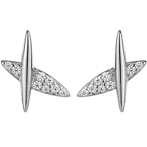 #N/D Pure Silver Bello Atmosfera Ins Stile Piccolo Aereo Forma Ragazze Cool Orecchini Bellissimi Diamanti