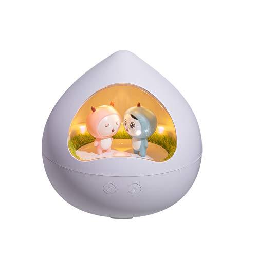 Janly Clearance Sale Decoración del hogar, rotación de cuento de música lámpara USB recargable lámpara de mesita de noche regalo creativo, para Navidad Hogar y Jardín Decorar, (Blanco)