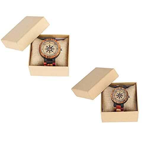 KUELXV Reloj de Pulsera de Madera Nuevo Reloj de Madera de Cuarzo de Moda para Hombre, Relojes de Madera Maciza de Color de Empalme, Reloj con Esfera, Regalo Hombres, Pareja 1