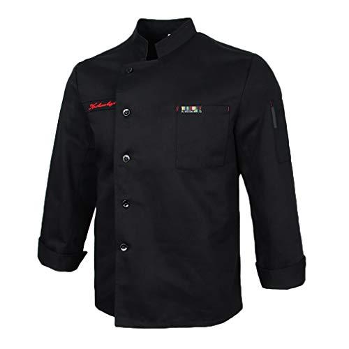 sharprepublic Kochjacke Chefjacke Bäckerjacke Herren Damen Berufsbekleidung Koch Arbeitskleidung Uniform - Schwarz, L