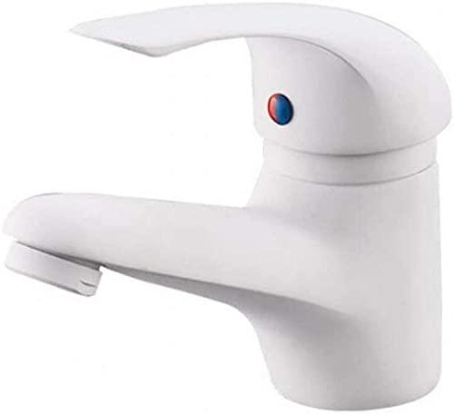 Elegante grifo de baño blanco mezclador de lavabo mezclador monomando mezclador grifo de lavabo armadura grifo de baño para baño hecho de latón con mangueras de conexión
