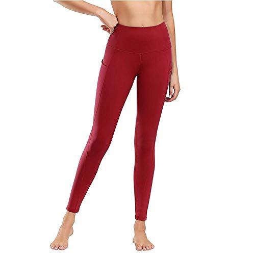 Damen Leggings Yogahosen Sporthose Tights Laufhose High Waist mit Taschen Dehnbar Jogginghose Yoga Sport Fitness Laufen(Weinrot,XXL)