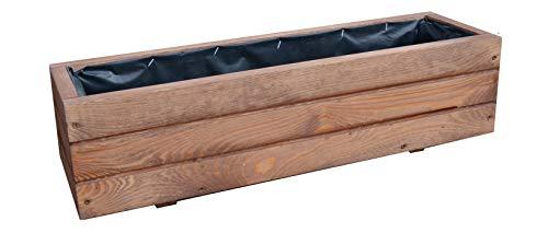 FKL DESIGN Home Deco Pflanzkasten aus Holz Pflanzkübel Garten Terrasse fertig montiert D6 Nuss (Länge 90cm)