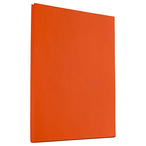 JAM PAPER Colored 24lb Paper - 90 GSM - 8.5 x 11 - Orange Recycled - 50 Sheets/Pack