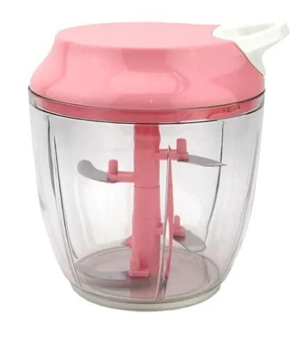 Processador de Alimentos Manual Triturador Mixer 5 Laminas (Rosa)