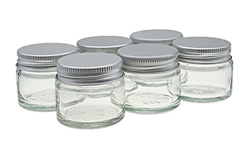 6 x Petit 15ml Transparent Verre Bocaux/Pots. Convenable pour Baumes Pour Les Lèvres, Plantes, épices, Crème de visage, Onguents & Bougies