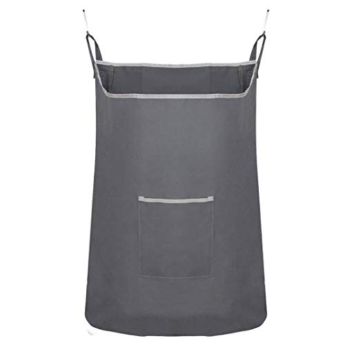 Houseables Hanging Laundry Hamper, Dirty Clothes Bag, 1 Pk, Fabric, Over The Door Cloth Basket with Hooks, for Bathroom, Storage, Space Saving, Wall, College, Closet, Behind Doors