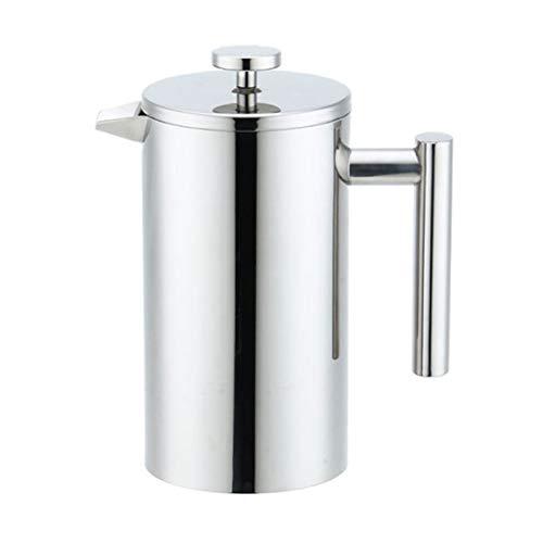 Cafetera de filtro de doble pared de acero inoxidable cafetera de doble aislamiento térmico cafetera tetera con filtro de malla-plata