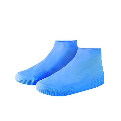 OULII Copriscarpe Antipioggia Antiscivolo Prova della Neve Lattice Elastico Unisex Misura L(Blu)