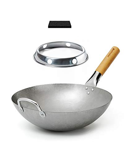 Bielmeier Traditional Hand Hammered Carbon Steel Pow Wok with Wok Ring and Sponge(14 Inch, Round Bottom)