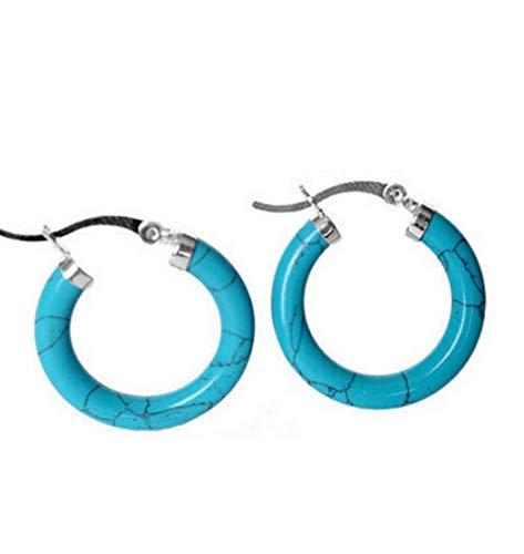 Pendientes Mujer Encantadora Plata De Ley 925 con Arete De Anillo Azul Turquesa