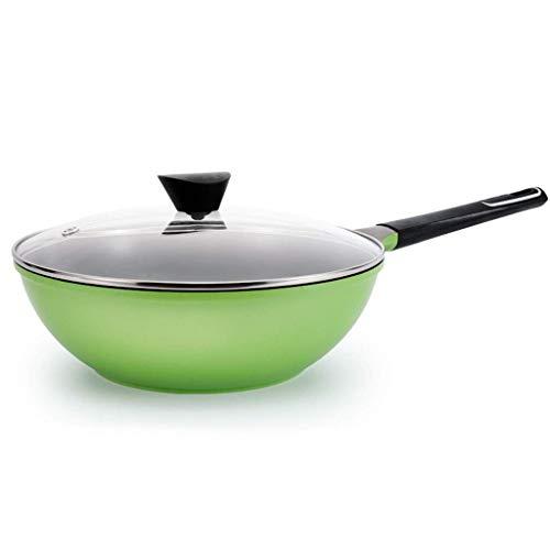 IUYJVR Wok - Utensilios de Cocina Jumbo Wok Especiales, antiadherentes, Aptos para lavavajillas, Aptos para Horno (Color: Verde)