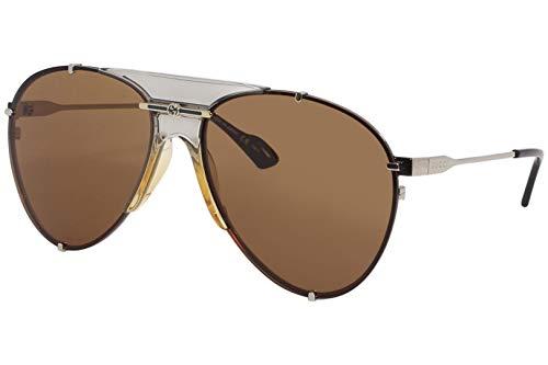 Gucci Gafas de sol GG0740S 003 Gafas de sol unisex color Marrón plateado tamaño de lente 61 mm