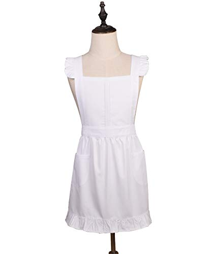 Love Potato Cotton Adjustable Kitchen White Apron Retro Cosplay Maid Apron with Pockets