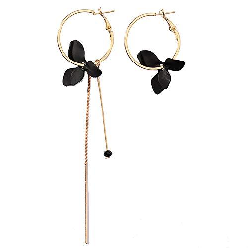 Muzhili3 - Pendientes de aro para mujer, diseño de hoja de flor, circulo asimétrico, cadena larga, color verde negro
