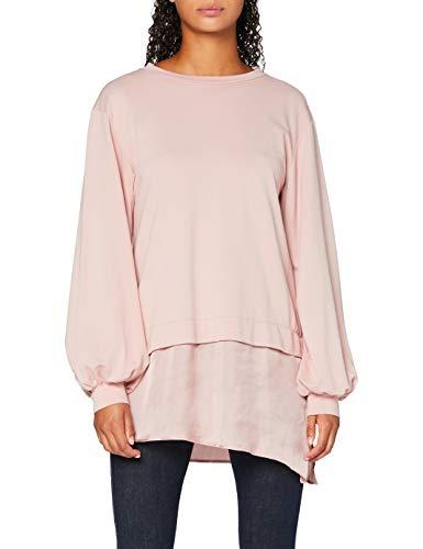 Amazon-Marke: find. Damen Sweatshirt mit Seidensaum, Rosa (Pink), 42, Label: XL