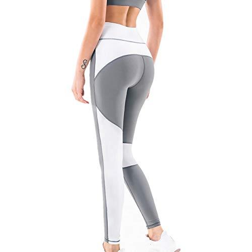 DSCX Leggings da Donna Pantaloni da Yoga Calzamaglia Sportiva Vita Alta Sollevamento Fianchi Fitness da Corsa Grande Taglia Grigio L