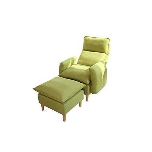 XYJHQEYJ Sofá Camas saquear sofá Cama Tela de Lino de Esquinas Sillón Sillón Sillón reclinado, Respaldo de 5 Engranajes Ajustable, Sofas Plegables Silla de 2 Piezas (Color : Green)