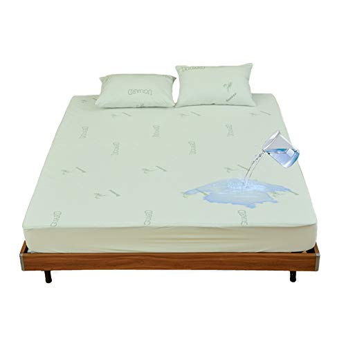 GEBIN Bamboo Mattress Protector - Waterproof Breathable Fitted Sheet, Protects Against Moisture, Spills, Stains - Hypoallergenic, Noiseless, Machine Washable, Fits 11inch Bed (140 x 200 cm)