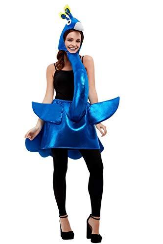 Smiffys Deluxe Peacock Costume Disfraz de pavo real de lujo, color azul, talla única (47137)