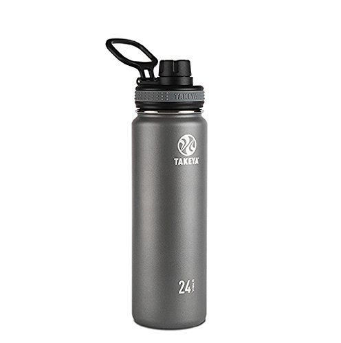 Takeya Originals Vacuum-Insulated Stainless-Steel Water Bottle, 24oz, Graphite