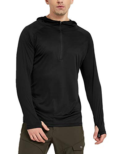 Safort Men's UPF 50+ Sun Protection Hoodie Long Sleeve Half Zip T-Shirt for Running, Fishing, Hiking, Black XXL