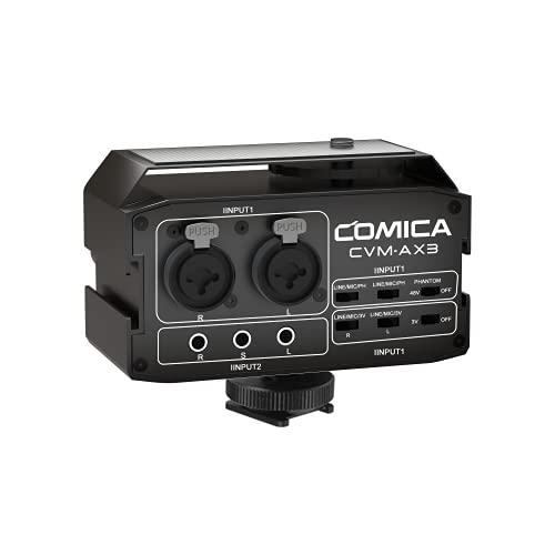 Comica CVM-AX3 Adattatore per mixer audio con ingressi da 3,5 mm XLR   6,35 mm e modalità stereo mono, preamplificatore microfono per fotocamera per fotocamere DSLR, videocamere ecc.