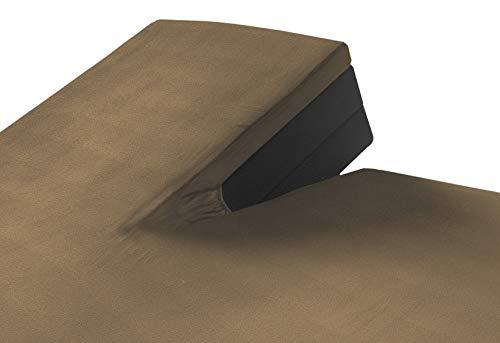 SLEEPMED 2er Set Doppelbett-Bezüge 100{5bc2f78ed6754ee56fa797c0c0bee9739e08e0cfa5b30889705df261b8c8f9f9} Jersey Baumwolle mit Split Matratzenauflage mit Unterteilung für 2 Einzel- oder Doppelbetten | Ergonomischer Steppschutz | Taupe 180_x_200 cm