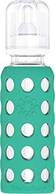 Lifefactory 9-Ounce BPA-Free Glass Baby Bottle with Protective Silicone Sleeve and Stage 2 Nipple, Kale