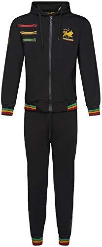 Herren Rasta Fleece Trainingsanzug Kapuzenjacke 2tlg Set Elastische Hose Gr. XX-Large, Schwarz