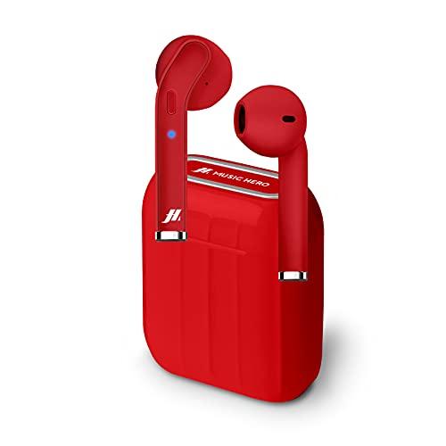 SBS Auricolari Twin Style True Wireless Stereo con Microfono e Tasto Risposta/Fine Chiamata, Custodia di Ricarica da 300mAh, fino a 2.5 Ore di Ascolto Musica, Rosso