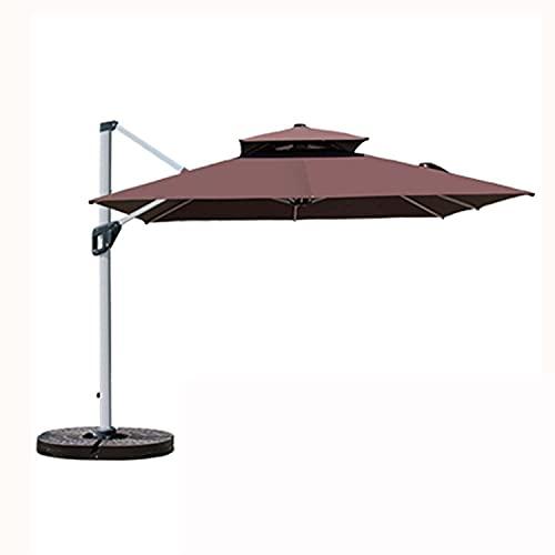 WXFCAS Amplia terraza de jardín Sombrillas cuadradas, 360 ° rotando sombrilla y Impermeable, Usado para Piscinas de Patio Trasero, etc. / Verde / 300cm (Color : Coffee, Size : 250CM)