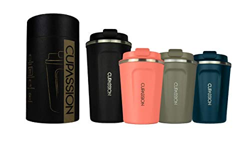 CUPASSION Ecology - Thermobecher Flamingo Pink 350ml | Kaffeebecher | auslaufsicher | doppelwandiger Edelstahl | Coffee to-go | Tee Isolierbecher | Travel Mug