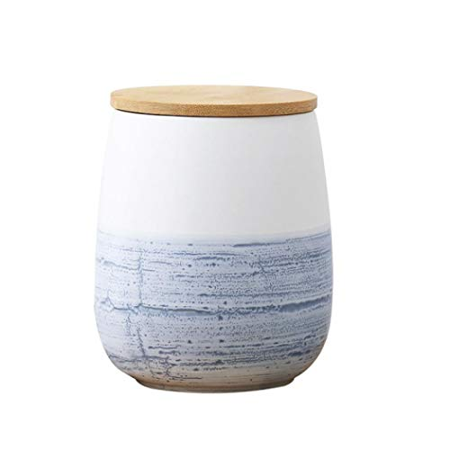 Food Storage Canister Round Ceramic Cookie Jars with Airtight Bamboo Lid Perfect for Tea Coffee Spices or Snacks 49oz  1450ml120x160x115mm