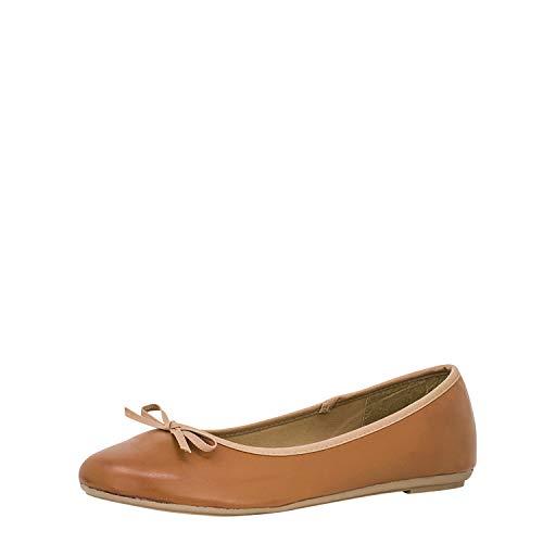 Fitters Footwear That Fits Damen Ballerina Lina PU Klassische Ballerinas Lederimitat Basic Übergröße (45 EU, Brandy)