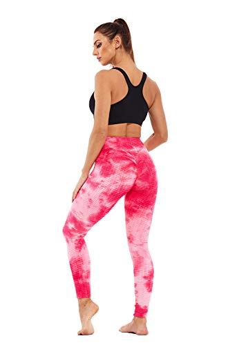 RJINS Pantalones de yoga para mujer, cintura alta, teñido de corbata, delgada, para entrenamiento, fitness, fitness, correr, medias de deporte S-XL