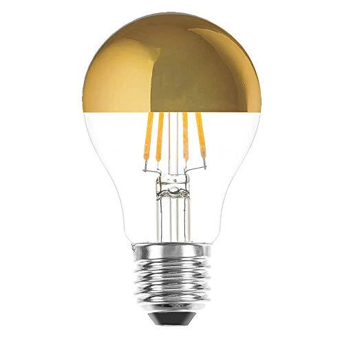 LED Filament Leuchtmittel Birnenform 7W fast 60W E27 Kopfspiegel Gold extra warmweiß 2200K Retro Nostalgie