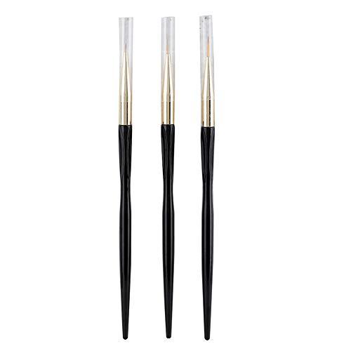 3 Pcs Nail Art Pen, Nail Pen Designer Brush Set Manucure Tool Poignées Nail Art Pens Line Drawing Paint Pen pour les modèles de Nail Art.(Noir)