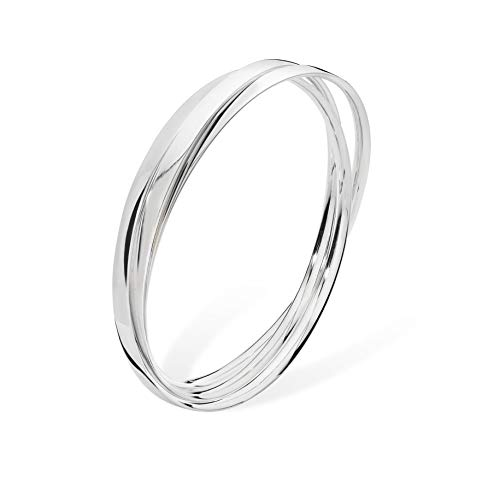 Round 3 - Triple Band Russian Bangle Bracelet - Diameter: 70mm - 925 Sterling Silver SBA054A